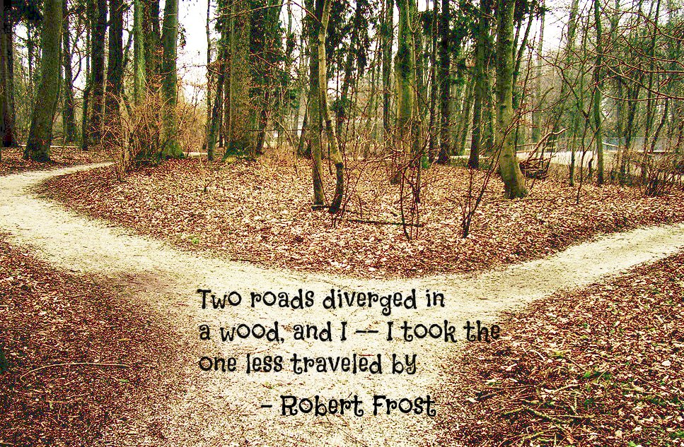 an analysis of robert frost on the two roads diverged in a yellow wood Analysis on road not taken this poem, the road not taken, by robert frost is magnificently written,  frost says two roads diverged in a yellow wood.